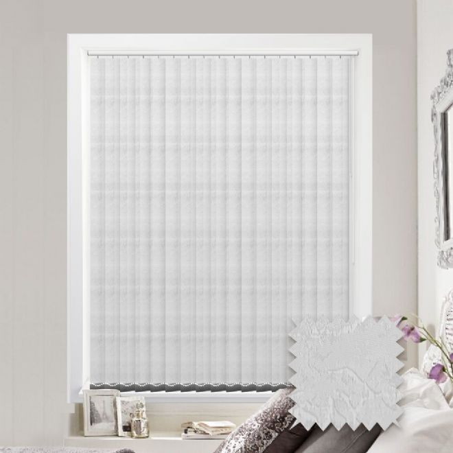 Made to measure vertical blind in Diamond Busy Pattern White Fabric - Just Blinds
